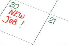 New Job. A calendar entry reminding of a New Job Stock Photography