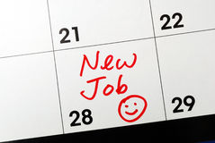 New job. Mark the calendar to go to a new job Royalty Free Stock Images