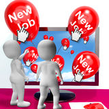 New Job Balloons Show Internet Congratulations for New Jobs Royalty Free Stock Photos
