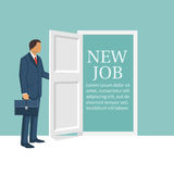 New job concept. Man opens door looking for work. Welcome employee. Successful businessman in suit with briefcase. Beginning of business career. Vector stock illustration