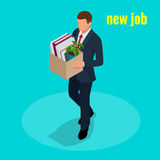 New Job concept. People Isometric vector 3D office workers and subordinates . Man going to the new job with box. Welcome to the new job business concept Royalty Free Stock Photography
