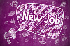 New Job - Hand Drawn Illustration on Purple Chalkboard. Royalty Free Stock Images