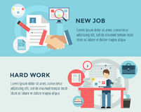 New Job after Hard Work infographic. Students. Stress, Clerk and Professions. Vector stocks illustration for design Royalty Free Stock Image