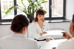 Employee having job interview with recruiters stock photos