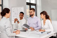 Recruiters having job interview with employee royalty free stock photos