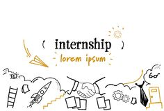 New job learning practice experience internship concept sketch doodle horizontal isolated copy space. Vector illustration royalty free illustration