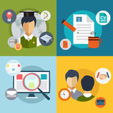 New Job Search. infographic. Labor, Office, Loupe. And Professions. Vector stocks illustration for design Stock Photos