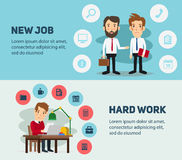 New job search and stress work infographic. Office. New job search and stress work infographic. Cv, head hunters, job search, new work. Labor Day. Office life Stock Images