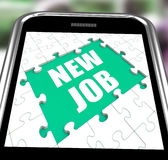 New Job Smartphone Shows Changing Jobs Or Employment Royalty Free Stock Photography