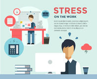 New Job after Stress Work infographic. Students. Stress, Clerk and Professions. Vector stocks illustration for design Royalty Free Stock Photo