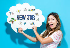 New Job text with young woman holding a speech bubble Royalty Free Stock Images