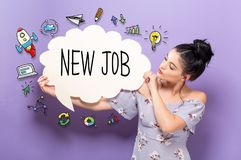 New Job with woman holding a speech bubble Stock Images