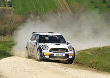 New John Cooper Works 1.6 turbo Rally. The new Mini Cooper Works  on race during the Rally of Adriatico Valid for TRT (Trofeo Rally Terra) ,driven by Andrea Royalty Free Stock Images