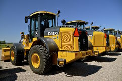 New John Deere backhoe. MOORHEAD, MINNESOTA, July 25, 2016: The new wheel loaders are  products of John Deere Co, an American corporation that manufactures Royalty Free Stock Photo