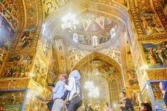Interior view of Vank. Armenian holy savior cathedral. New Julfa, Isfahan, Iran. October 30, 2016 : Beautiful interior view of Vank. Armenian holy savior royalty free stock photography
