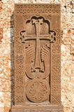 New khachkar  (Armenian cross stone)  from red  tuff, Bulgaria Stock Photography