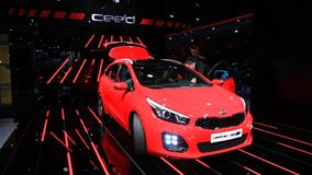 New KIA ceed sw at the IAA 2015 stock video footage