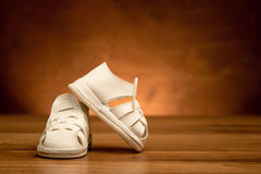 New kid`s leather shoes Royalty Free Stock Photos