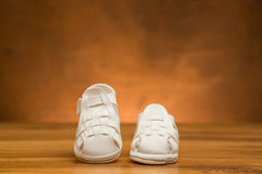 New kid`s leather shoes Stock Images