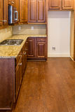 New Kitchen with Dark Cabinets and Granite Countertop stock image