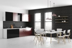 New kitchen interior. With furniture and appliances. Style and design concept. 3D Rendering Royalty Free Stock Photography