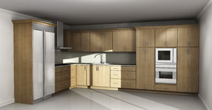 New kitchen interior with wood cabinets. New kitchen interior with natural wood cabinets Royalty Free Stock Image