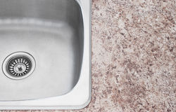 New kitchen sink and countertop detail Stock Image