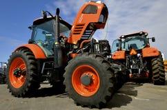 New Kubota M7-171 Premium tractor on display. WEST FARGO, NORTH DAKOTA, September 13, 2016. A new Kubota M7-171 Premium tractor is displayed at the Big Iron Farm stock image