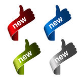New labels with gesture hand - sign on the corner product Stock Photos