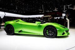 New 2019 Lamborghini Huracan Evo Spyder supercar. GENEVA, SWITZERLAND - MARCH 5, 2019: New 2019 Lamborghini Huracan Evo Spyder supercar debuts at the 89th Geneva stock image