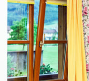 New laminated brown window inside view Stock Photography