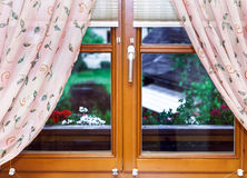 New laminated brown window inside view Stock Images