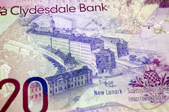 New Lanark on Scottish Banknote. The Scottish World Heritage Site New Lanark depicted on the back of a twenty pound note from the Clydesdale Bank in Scotland Royalty Free Stock Image