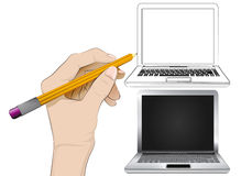 New laptop as isolated human hand drawing vector Royalty Free Stock Photo