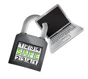 New laptop caught in security closed padlock isolated vector Royalty Free Stock Image