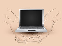 New laptop hold two human hands across vector Royalty Free Stock Image