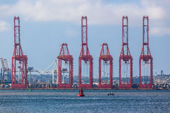 Container Cranes Red Harbor Royalty Free Stock Photography