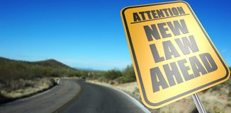New law ahead road sign stock photo