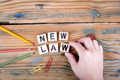 New Law. Wooden letters on the office desk Royalty Free Stock Photo