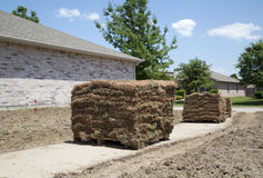 New lawn sod in front yard. A new lawn sod in the yard of house background Royalty Free Stock Images
