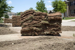 New lawn sod in front yard. A new lawn sod in the yard of house background Stock Photo