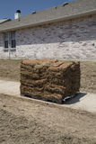 New lawn sod. Ready for new yard background royalty free stock photos
