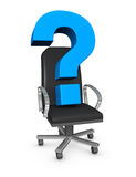 New leader. One office armchair with a question mark on it, concept of new leader (3d render Stock Images