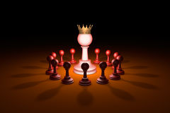 The new leader (chess metaphor). 3D rendering illustration. Standing Out from the Crowd. Available in high-resolution and several sizes to fit the needs of your Royalty Free Stock Image