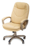 New Leather office chair on wheels. On white background stock image