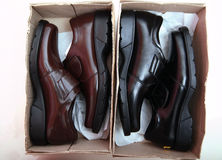 New leather shoes. In the box Royalty Free Stock Photos