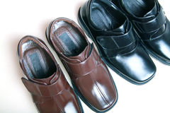New leather shoes. At market Stock Photo
