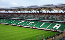 New legia stadium. In Warsaw opened 31 07 2010 and still in reconstruction. First day open for people Royalty Free Stock Images