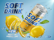 New lemon soft drink. Soft drink lemon flavor contained in yellow metal can, underwater background stock illustration