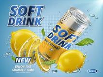 New lemon soft drink stock illustration